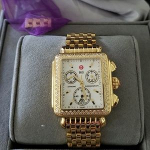 Michele Deco gold diamond bezel ladies watch